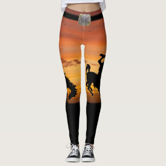 Western Cowboy Bucking Horse Sunset and Belt Leggings