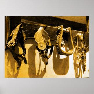Western Cowboy Horse Stirrups & Leather Poster Art