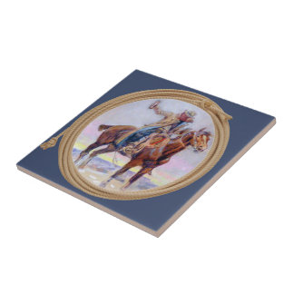 Western Cowboy On Horse And  Holding A Drink Tile