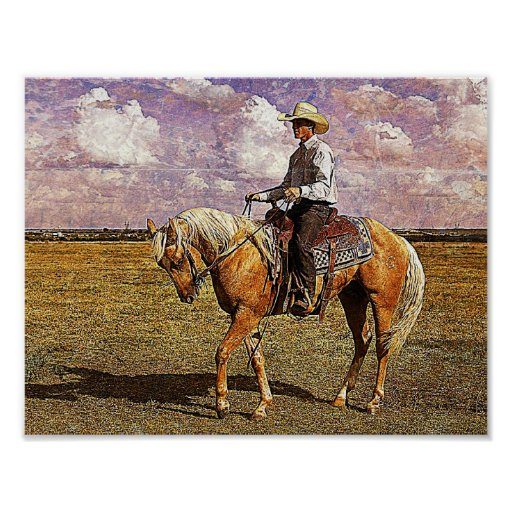 Western Cowboy on Palomino Horse Poster