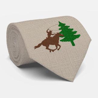 Western Cowboy Roping a Christmas Tree Tie