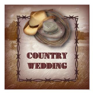Western Cowboy Rustic Country Wedding Invitation