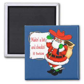 Western Cowboy Santa with List Square Magnet