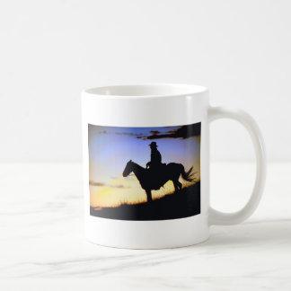 Western Cowboy Sunset Silhouette Coffee Mug