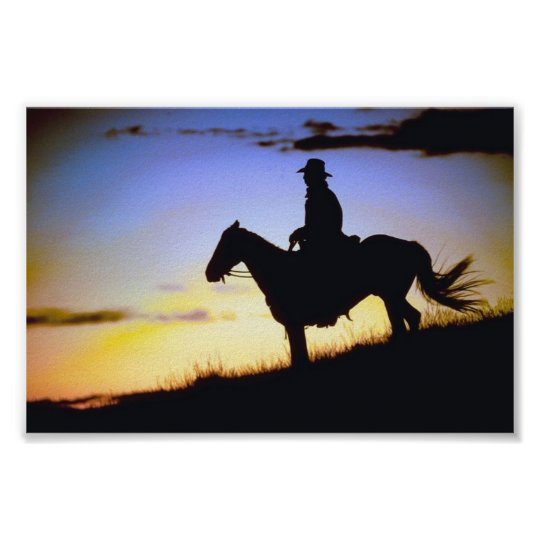 Western Cowboy Sunset Silhouette Poster