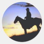 Western Cowboy Sunset Silhouette Round Sticker