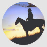 Western Cowboy Sunset Silhouette Round Stickers