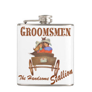 Western Cowboy Wedding Flask Groomsmen's Gift