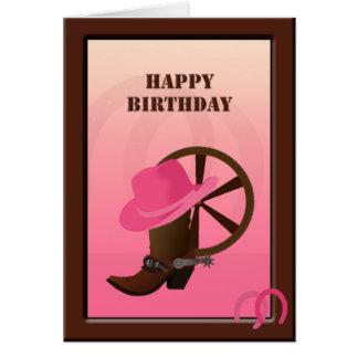 Western Cowgirl Custom Birthday Card