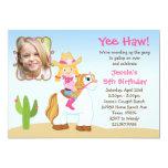Western Cowgirl Horse Birthday Party Invitation