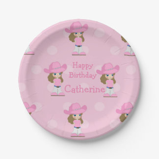 Western Cowgirl Party Pink 7 Inch Paper Plate