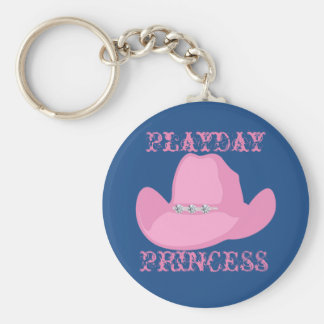 Western Cowgirl Playday Princess Pink Hat Basic Round Button Key Ring