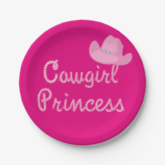 Western Cowgirl Princess Party Pink Hat 7 Inch Paper Plate