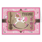Western Cowgirl Rocking Horse Bandanna Thank You Card
