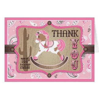 Western Cowgirl Rocking Horse Bandanna Thank You Card