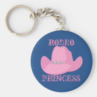 Western Cowgirl Rodeo Princess With Horse Basic Round Button Key Ring