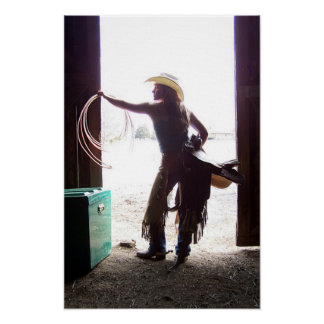 Western Cowgirl with Chaps and Rope Art Poster