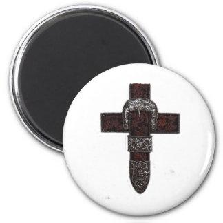 Western cross 6 cm round magnet