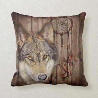 Western dream catcher  native american indian wolf cushion