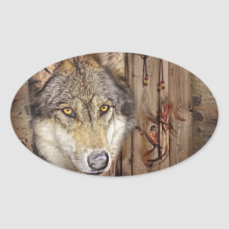 Western dream catcher  native american indian wolf oval sticker
