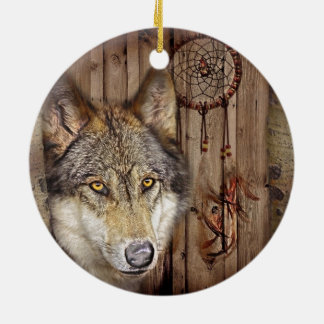 Western dream catcher  native american indian wolf round ceramic decoration