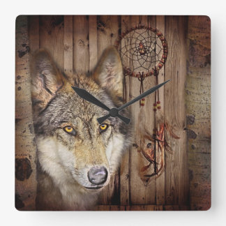 Western dream catcher  native american indian wolf square wall clock