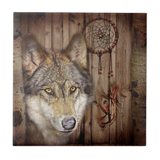Western dream catcher  native american indian wolf tile
