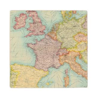 Western Europe communications Maple Wood Coaster