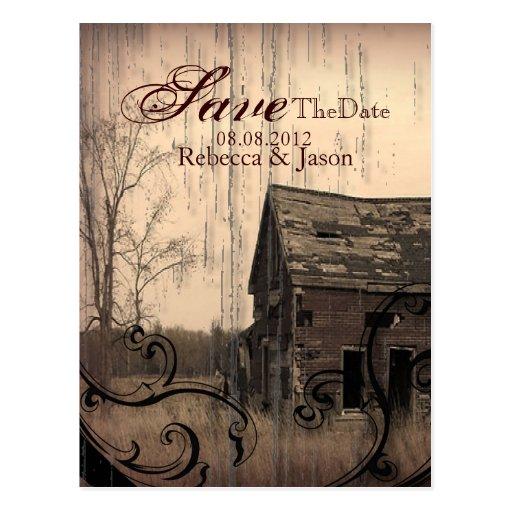 western farmhouse  country Wedding savethedate Post Card