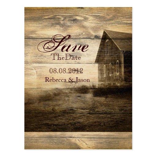 western farmhouse countrywedding SaveTheDate Post Cards