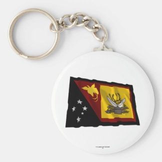 Western (Fly River)  Province Waving Flag Basic Round Button Key Ring