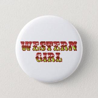 Western Girl Cowgirl Pink & Green Wild West 6 Cm Round Badge