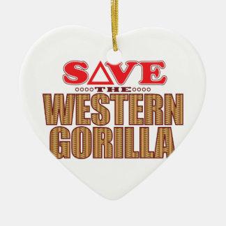 Western Gorilla Save Ceramic Heart Decoration