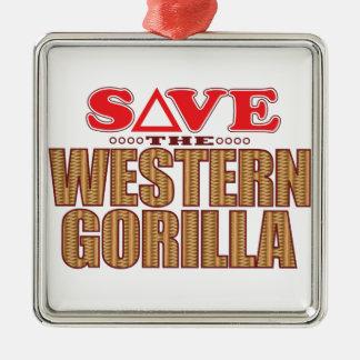 Western Gorilla Save Christmas Ornament