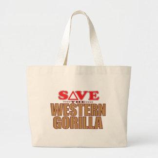 Western Gorilla Save Large Tote Bag