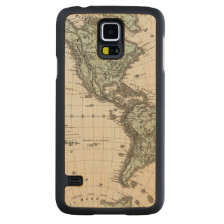 Western Hemisphere Atlas Map Carved Maple Galaxy S5 Case