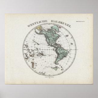 Western Hemisphere Atlas Map Poster