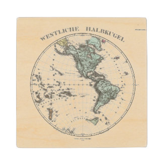 Western Hemisphere Atlas Map Wood Coaster