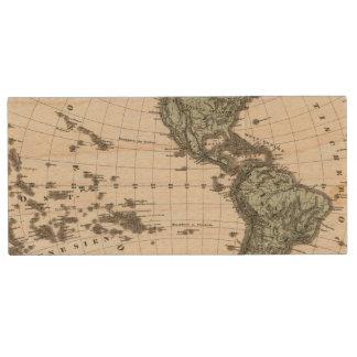 Western Hemisphere Atlas Map Wood USB Flash Drive