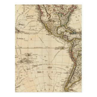 Western Hemisphere Circular Map Postcard
