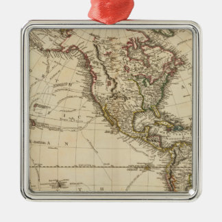 Western Hemisphere Circular Map Silver-Colored Square Decoration