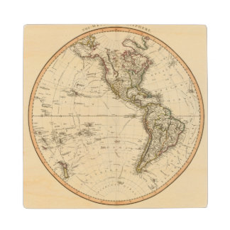 Western Hemisphere Circular Map Wood Coaster