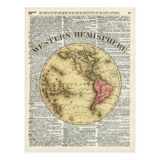 Western Hemisphere Earth map Postcard