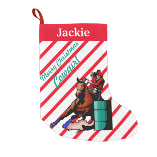 Western Home Decor Christmas Stocking Barrel Racer