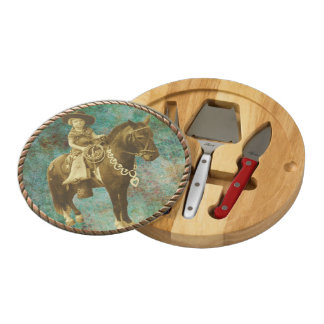 Western Home Decor Vintage Cowgirl Cheese Board Round Cheeseboard