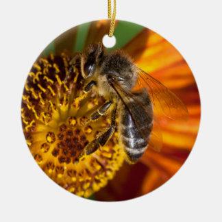 Western Honey Bee Macro Photo Round Ceramic Decoration