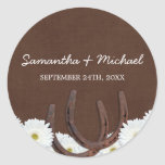 Western Horseshoes and Daisies Wedding Favour Round Sticker