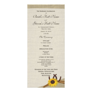 Western Horseshoes and Sunflower Wedding Program Rack Card