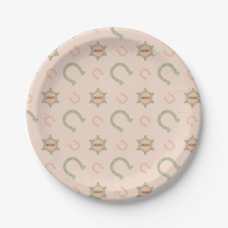 Western Horseshoes Sheriff Badge Peach Mint Paper Plate