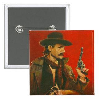 Western Lawman Illustration 15 Cm Square Badge